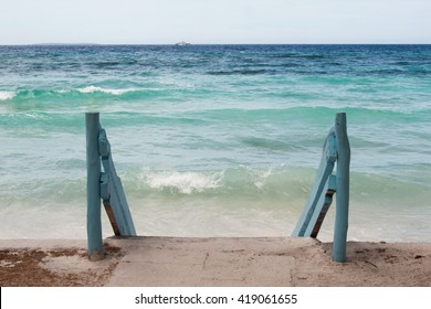 Blue stairway to beautiful tropical beach