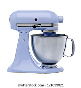Blue stand mixer with clipping path isolated on white background