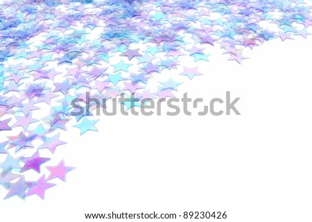 blue star confetti new years eve or winter background or border