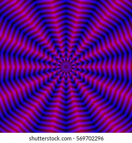 Blue Star Ripples and Red Rays / An abstract fractal image with a rippling ray design in red, blue and violet.