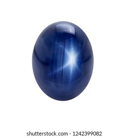Blue Star Sapphire Oval Cabochon Cut Natural Gems on white isolate