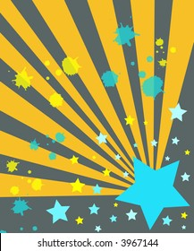 Blue stars and yellow rays with paint splashes