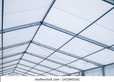 Blue Steel frame tents Background. Inside Big Canvas Tent