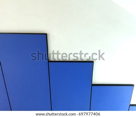 blue steps on white wall stock photo edit now 697977406 shutterstock