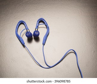 Blue stereo Listening device/Ear Phones/Ear plugs used for listening to music