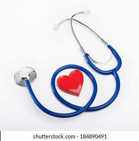 Blue stethoscope and heart shape, cardiovascular diseases and prevention concept.