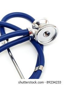 blue stethoscope isolated on a white background