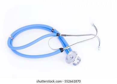 Blue stethoscope on a reflective white background