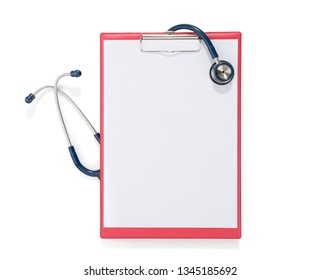 Blue Stethoscope over Clipboard Isolated