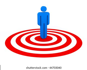 Blue stick man is standing in a bulls eye. Concept of selection, choice, supremacy,...