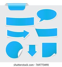 Blue stickers on gray background. 3d illustration. Raster version