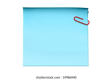 Blue sticky note and paper clip