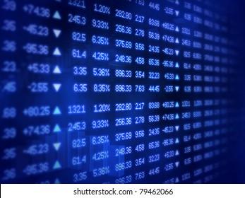 Blue Stock Market Ticker Board