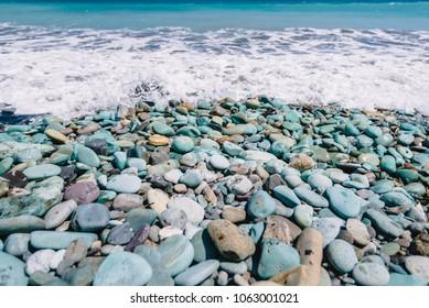 Blue Stone Beach in Flores Island
