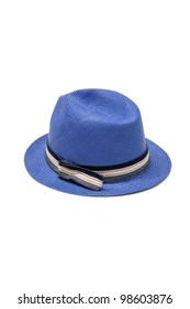blue straw hat isolated on white