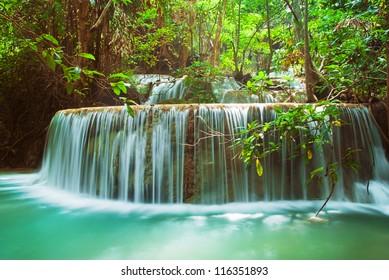 Blue stream waterfall in Kanjanaburi Thailand (Erawan waterfall national park)