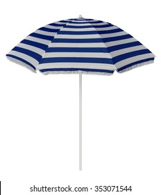 Blue striped beach umbrella isolated on white. Clipping path included.
