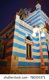 Blue Striped Church Building in Pisco, Peru