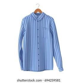 Blue Stripped Shirt On Hanger on white. 3D illustration