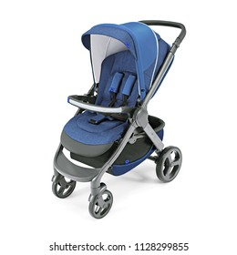 Blue Stroller Isolated on White Background. Side View of Baby Transport with Canopy and Swivel Front Wheels. Infant Carriage Seat. Travel System. Pushchair or Pram with Adjustable Showerproof Hood