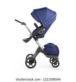 Blue Stroller Isolated on White Background. Side View of Baby Transport. Pushchair and Carrycot with Canopy and Swivel Wheels. Infant Carriage Seat. Travel System or Pram with Elevators and Raincover