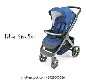 Blue Stroller Isolated on White Background. Pushchair or Pram with Adjustable Showerproof Hood. Baby Transport with Canopy and Swivel Front Wheels. Side View of Infant Carriage Seat. Travel System