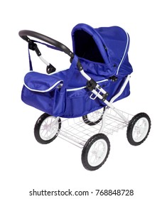 blue stroller on white background