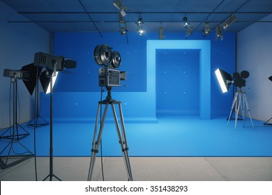 Blue style decoration for movie filming with vintage cameras 3D Render