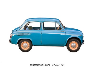 Blue subcompact Soviet old-timer car isolated on white background