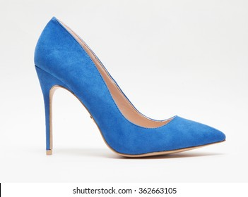blue suede women shoe isolated with shadows