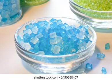 Blue Sugar Crystals in an Ingredient Bowl