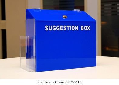 Blue suggestion box in an office
