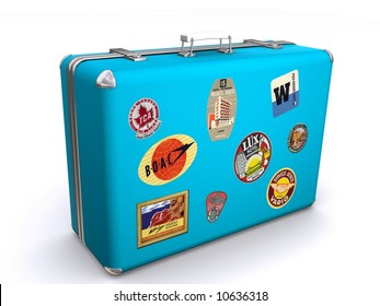 A blue suit case with travel labels stuck on the luggage indicating lots of travel.