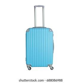 Blue suitcase isolated on white background. Polycarbonate suitcase isolated on white.