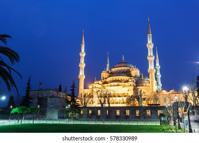 Blue Sultanahmet Mosque at night time. Blue Mosque from the street with night illumination. General view. Istanbul, Turkey