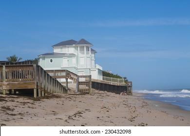 blue summer beach house on the beach, Florida