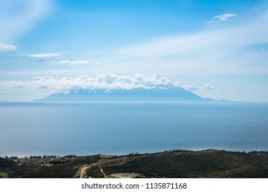 Blue summer sea with Samothrace island on background, Greece