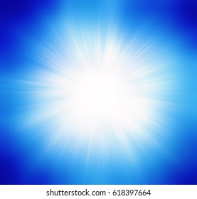 Blue summer sun light burst