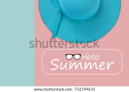 6a76cb5e7e0 Blue summer woman hat with text Hello Summer on pastel color background
