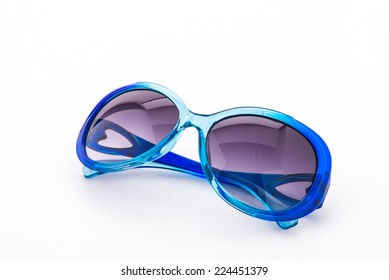 Blue sun glasses isolated on white background