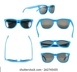 Blue sun glasses isolated over the white background, set of six different foreshortenings