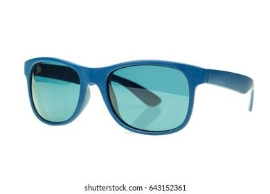Blue sunglasses isolated on white background
