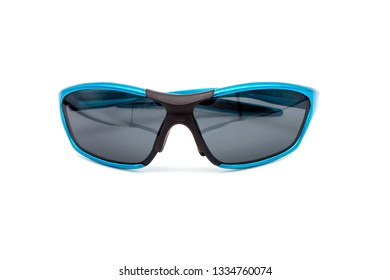 Blue sunglasses on a white background. Isolated image of polarized glasses. Isolated image of glasses.