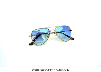 Blue sunglasses ray ban classic style isolated