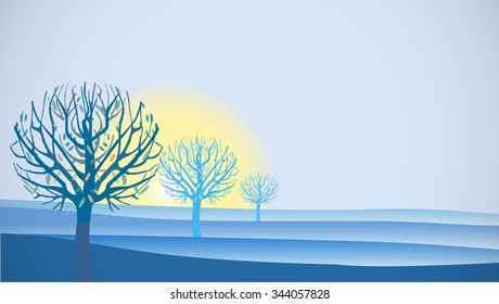 Blue Sunrise with Trees Illustration with space for text