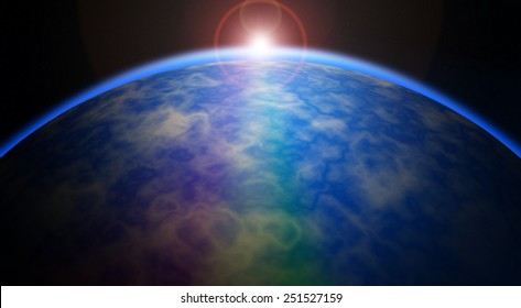 blue sunrise. view of earth from space.