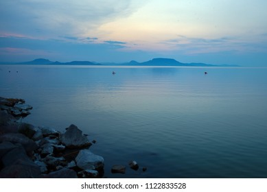 blue sunset at lake Balaton