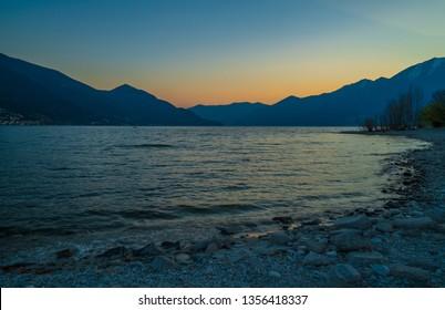 Blue sunset in the port of Ascona, Switzerland