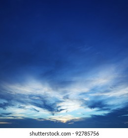 Blue sunset sky. Square composition.