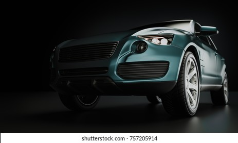 Blue suv car in studio photography. 3d rendering and illustration.